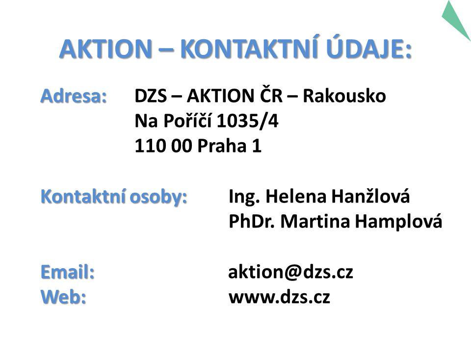 Adresa: Adresa: DZS – AKTION ČR – Rakousko Na Poříčí 1035/4 110 00 Praha 1 Kontaktní osoby: Kontaktní osoby: Ing. Helena Hanžlová PhDr. Martina Hamplo