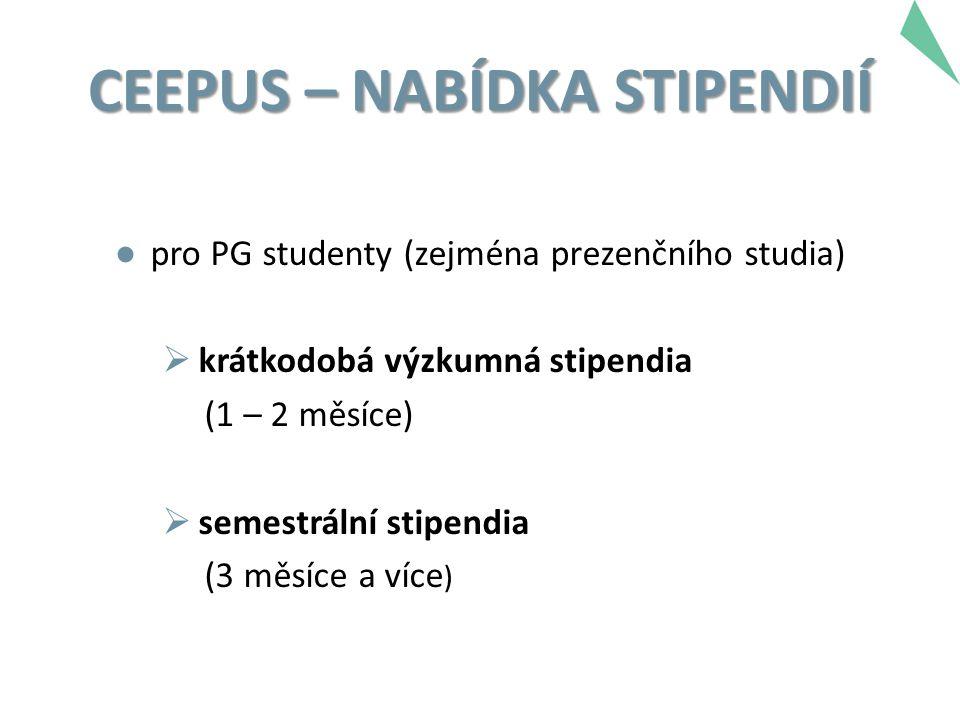 CEEPUS – NABÍDKA STIPENDIÍ ● pro PG studenty (zejména prezenčního studia)  krátkodobá výzkumná stipendia (1 – 2 měsíce)  semestrální stipendia (3 měsíce a více )