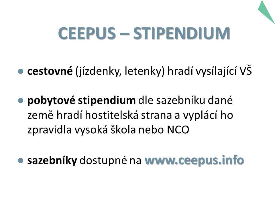 CEEPUS – STIPENDIUM ● cestovné (jízdenky, letenky) hradí vysílající VŠ ● pobytové stipendium dle sazebníku dané země hradí hostitelská strana a vyplác