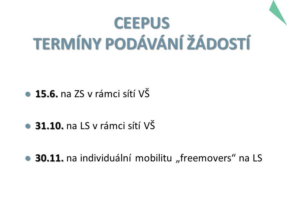 CEEPUS TERMÍNY PODÁVÁNÍ ŽÁDOSTÍ ● 15.6. ● 15.6. na ZS v rámci sítí VŠ ● 31.10.