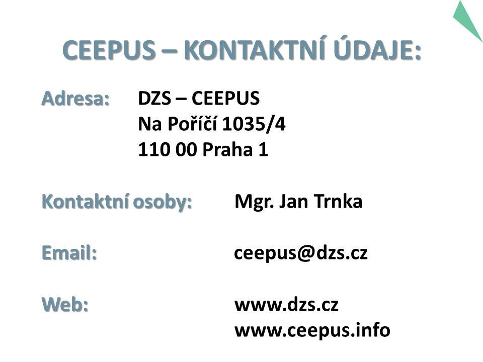 Adresa: Adresa: DZS – CEEPUS Na Poříčí 1035/4 110 00 Praha 1 Kontaktní osoby: Kontaktní osoby: Mgr. Jan Trnka Email: Email: ceepus@dzs.cz Web: Web:www
