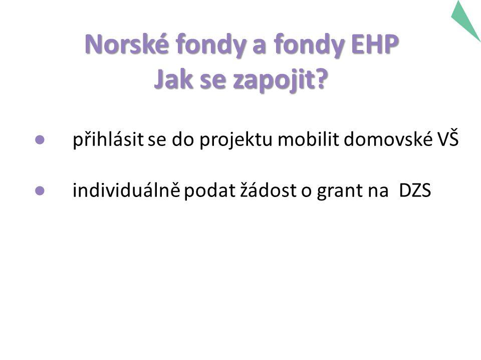 Norské fondy a fondy EHP Jak se zapojit? ● přihlásit se do projektu mobilit domovské VŠ ● individuálně podat žádost o grant na DZS