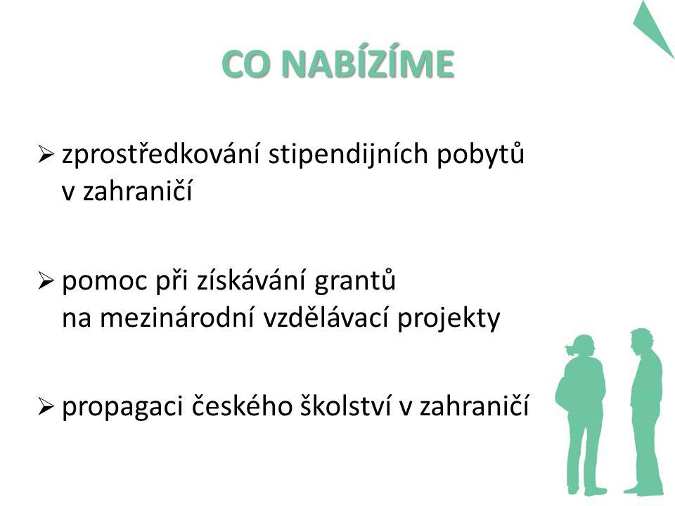CO NABÍZÍME  zprostředkování stipendijních pobytů v zahraničí  pomoc při získávání grantů na mezinárodní vzdělávací projekty  propagaci českého ško