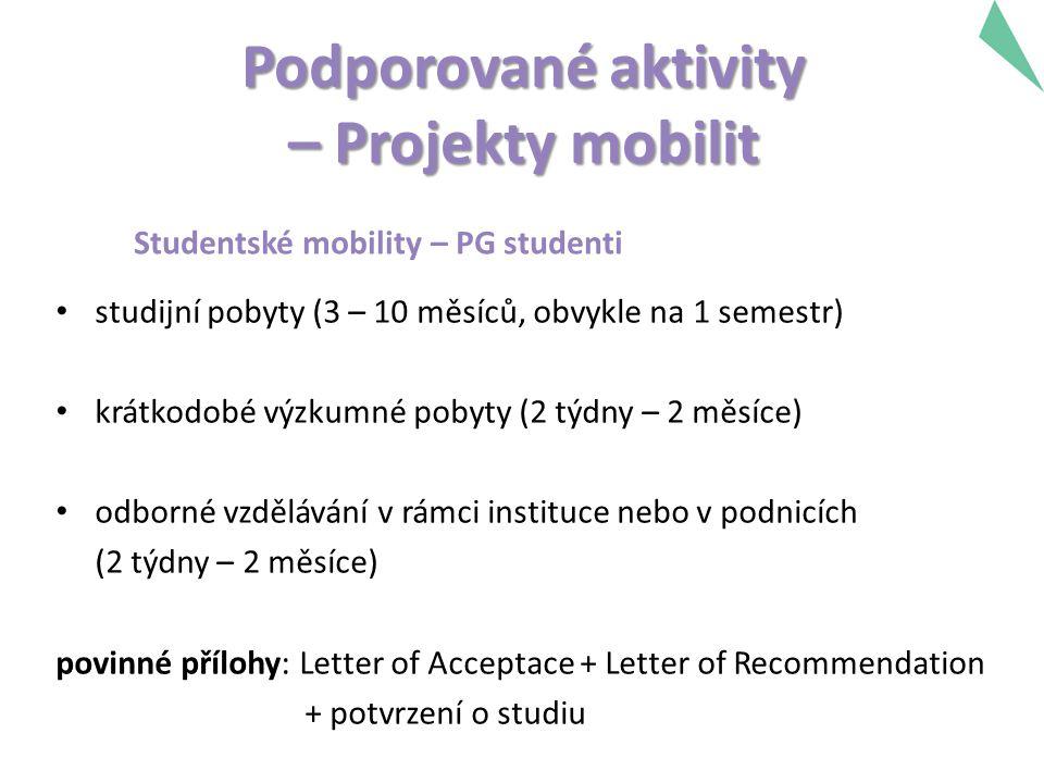 Podporované aktivity – Projekty mobilit Studentské mobility – PG studenti studijní pobyty (3 – 10 měsíců, obvykle na 1 semestr) krátkodobé výzkumné pobyty (2 týdny – 2 měsíce) odborné vzdělávání v rámci instituce nebo v podnicích (2 týdny – 2 měsíce) povinné přílohy: Letter of Acceptace + Letter of Recommendation + potvrzení o studiu