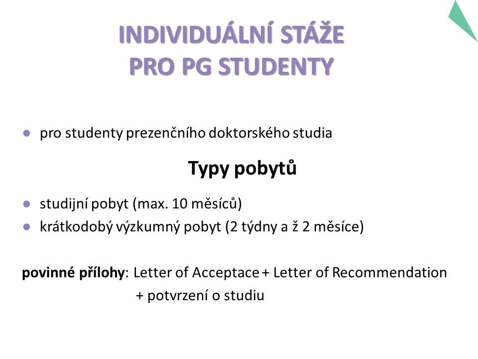 INDIVIDUÁLNÍ STÁŽE PRO PG STUDENTY ● pro studenty prezenčního doktorského studia Typy pobytů ● studijní pobyt (max. 10 měsíců) ● krátkodobý výzkumný p