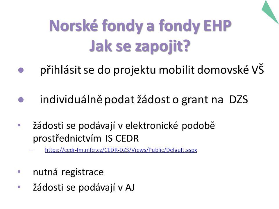 Norské fondy a fondy EHP Jak se zapojit? ● přihlásit se do projektu mobilit domovské VŠ ● individuálně podat žádost o grant na DZS žádosti se podávají