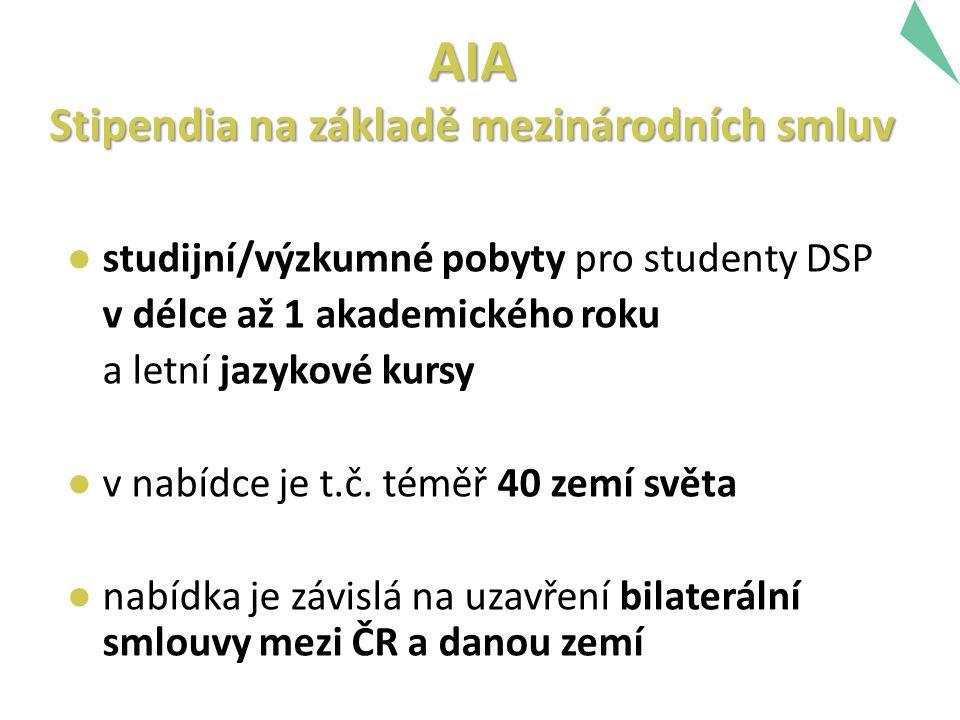 AIA Stipendia na základě mezinárodních smluv ● studijní/výzkumné pobyty pro studenty DSP v délce až 1 akademického roku a letní jazykové kursy ● v nabídce je t.č.