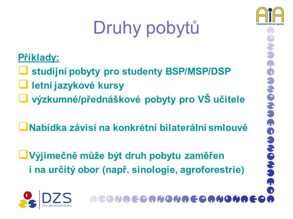 Druhy pobytů Příklady:  studijní pobyty pro studenty BSP/MSP/DSP  letní jazykové kursy  výzkumné/přednáškové pobyty pro VŠ učitele  Nabídka závisí na konkrétní bilaterální smlouvě  Výjimečně může být druh pobytu zaměřen i na určitý obor (např.