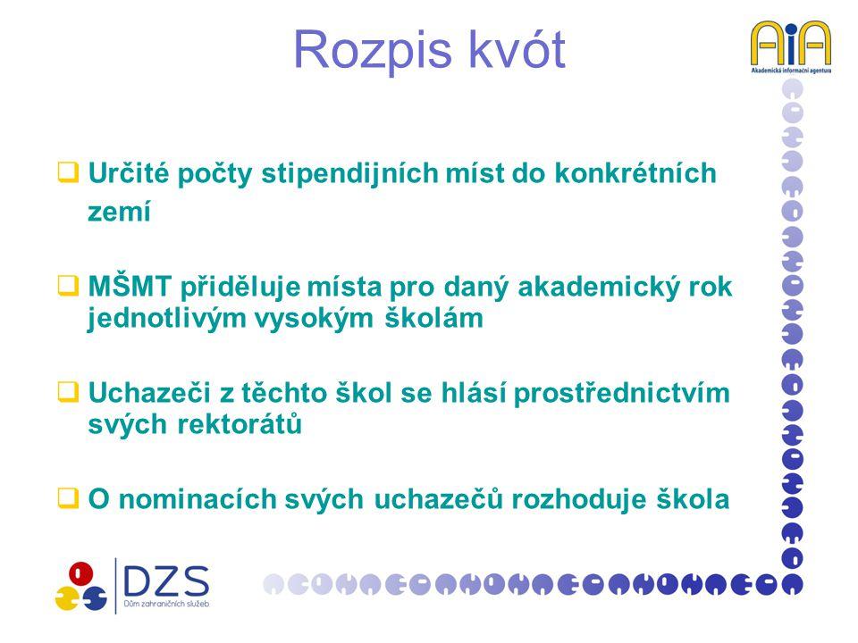 Výběrová řízení  Stipendijní místa nejsou přidělena konkrétním školám  Uchazeči ze všech veřejných vysokých škol v ČR se hlásí prostřednictvím AIA (s výjimkou některých zemí)  Nominace provádí výběrová komise (zástupci zahraničního partnera a pracovníci MŠMT, případně i odborníci z dalších institucí)