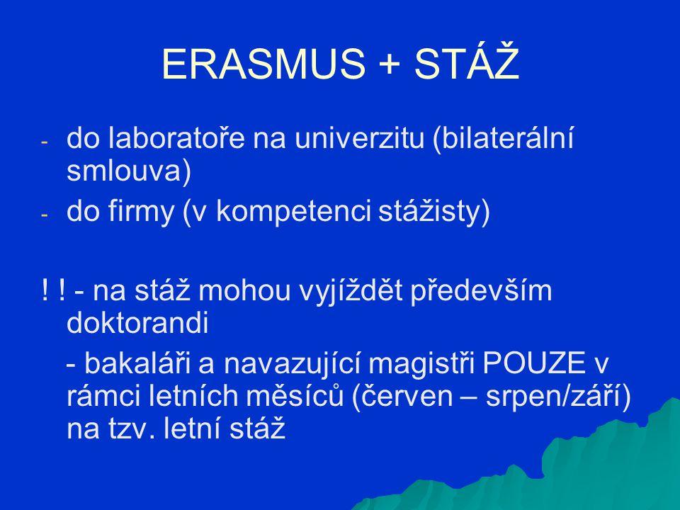 ERASMUS + STÁŽ - - do laboratoře na univerzitu (bilaterální smlouva) - - do firmy (v kompetenci stážisty) ! ! - na stáž mohou vyjíždět především dokto