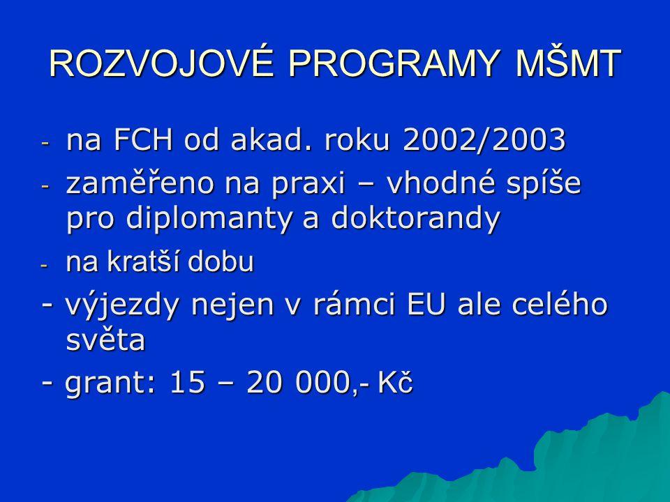 ROZVOJOVÉ PROGRAMY MŠMT - na FCH od akad. roku 2002/2003 - zaměřeno na praxi – vhodné spíše pro diplomanty a doktorandy - na kratší dobu - výjezdy nej