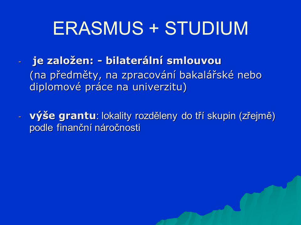 ERASMUS + STUDIUM - je založen: - bilaterální smlouvou (na předměty, na zpracování bakalářské nebo diplomové práce na univerzitu) - výše grantu : lokality rozděleny do tří skupin (zřejmě) podle finanční náročnosti