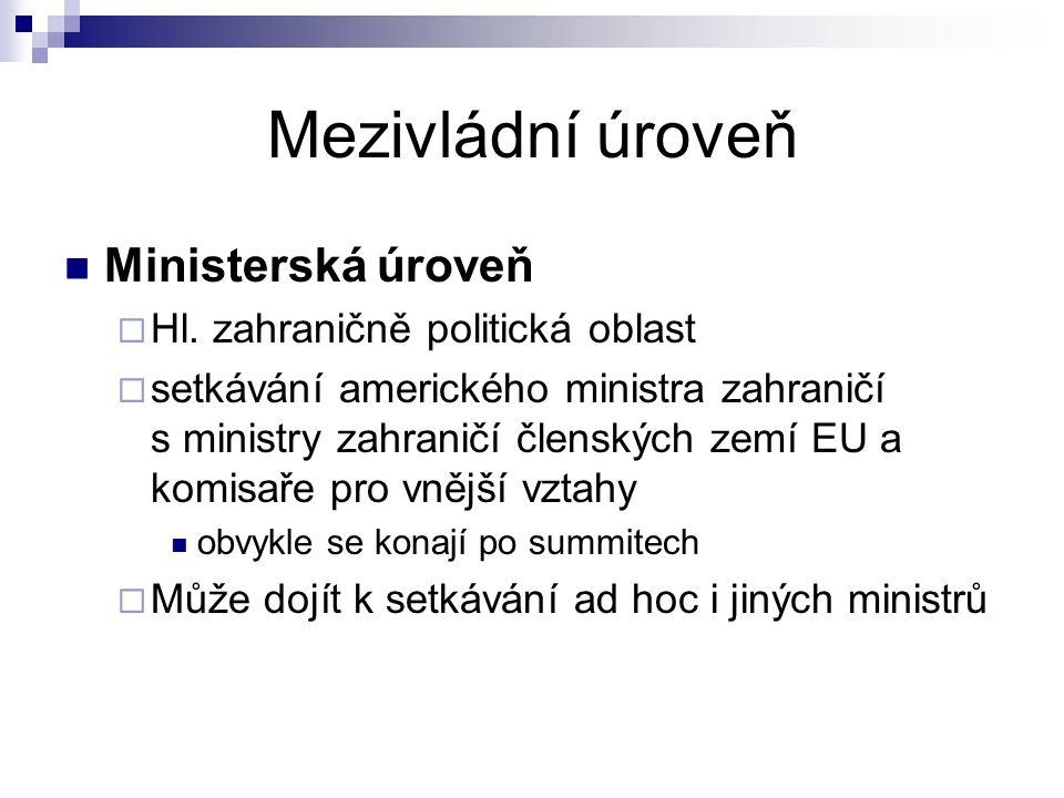 Mezivládní úroveň Ministerská úroveň  Hl. zahraničně politická oblast  setkávání amerického ministra zahraničí s ministry zahraničí členských zemí E