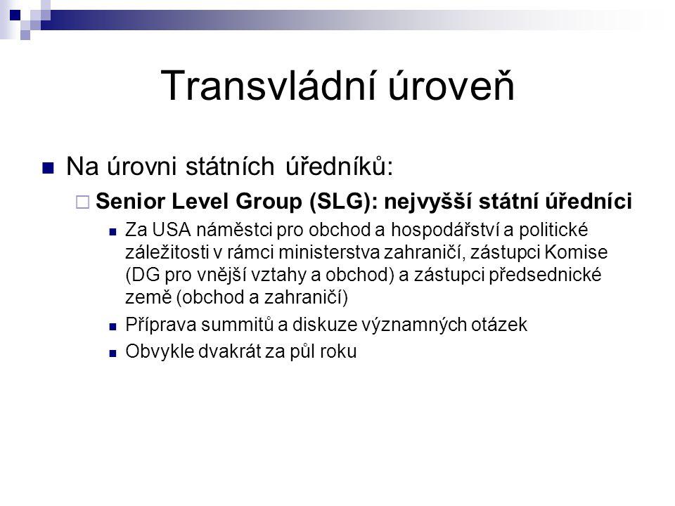 Transvládní úroveň Na úrovni státních úředníků:  Senior Level Group (SLG): nejvyšší státní úředníci Za USA náměstci pro obchod a hospodářství a polit