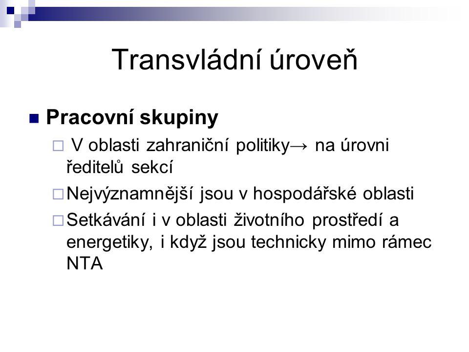 Transvládní úroveň Pracovní skupiny  V oblasti zahraniční politiky→ na úrovni ředitelů sekcí  Nejvýznamnější jsou v hospodářské oblasti  Setkávání