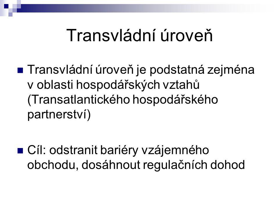 Transvládní úroveň Transvládní úroveň je podstatná zejména v oblasti hospodářských vztahů (Transatlantického hospodářského partnerství) Cíl: odstranit bariéry vzájemného obchodu, dosáhnout regulačních dohod