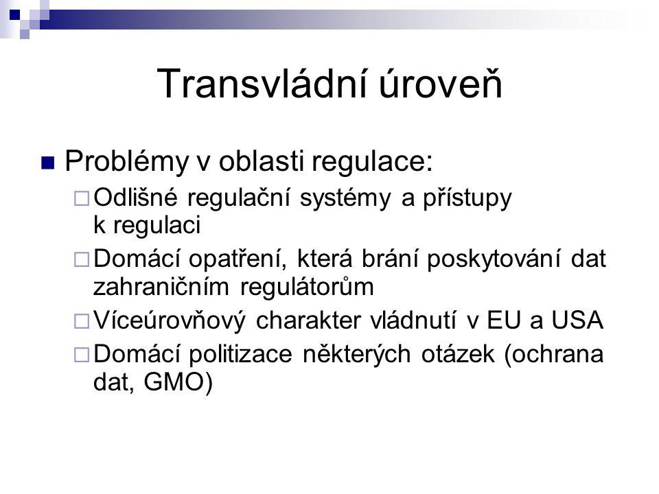 Transvládní úroveň Problémy v oblasti regulace:  Odlišné regulační systémy a přístupy k regulaci  Domácí opatření, která brání poskytování dat zahraničním regulátorům  Víceúrovňový charakter vládnutí v EU a USA  Domácí politizace některých otázek (ochrana dat, GMO)