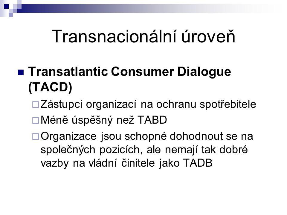 Transnacionální úroveň Transatlantic Consumer Dialogue (TACD)  Zástupci organizací na ochranu spotřebitele  Méně úspěšný než TABD  Organizace jsou