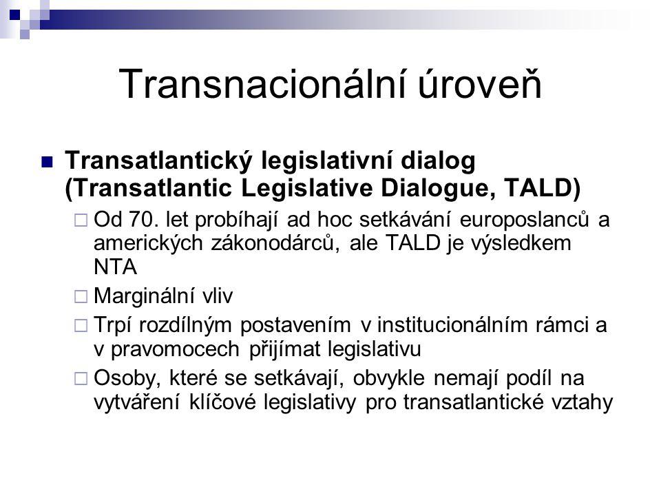 Transnacionální úroveň Transatlantický legislativní dialog (Transatlantic Legislative Dialogue, TALD)  Od 70. let probíhají ad hoc setkávání europosl