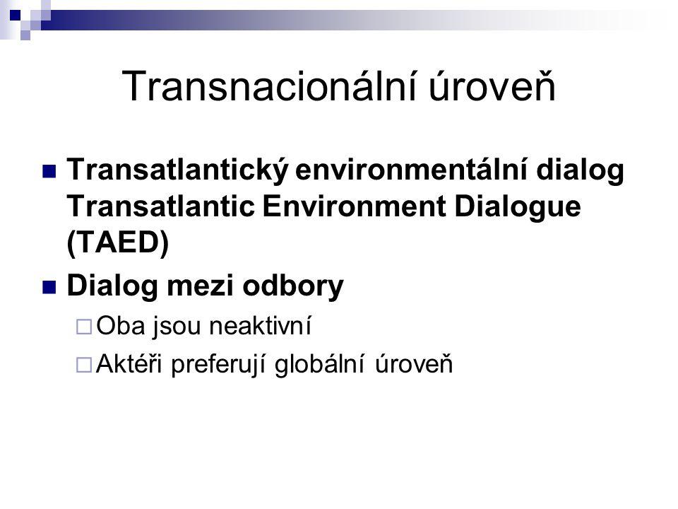 Transnacionální úroveň Transatlantický environmentální dialog Transatlantic Environment Dialogue (TAED) Dialog mezi odbory  Oba jsou neaktivní  Akté