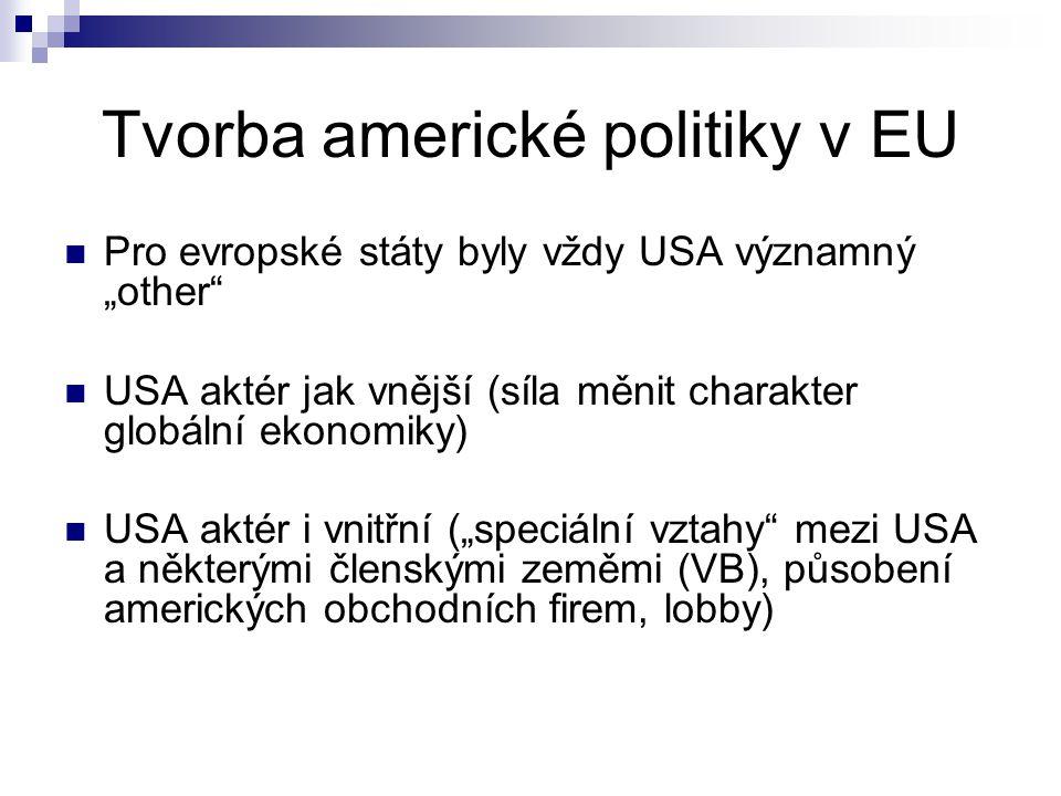 """Tvorba americké politiky v EU Pro evropské státy byly vždy USA významný """"other USA aktér jak vnější (síla měnit charakter globální ekonomiky) USA aktér i vnitřní (""""speciální vztahy mezi USA a některými členskými zeměmi (VB), působení amerických obchodních firem, lobby)"""