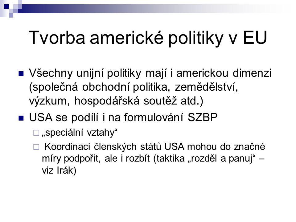 Tvorba americké politiky v EU Všechny unijní politiky mají i americkou dimenzi (společná obchodní politika, zemědělství, výzkum, hospodářská soutěž at