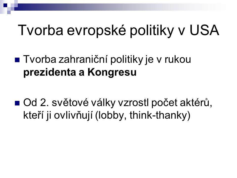 Tvorba evropské politiky v USA Tvorba zahraniční politiky je v rukou prezidenta a Kongresu Od 2.