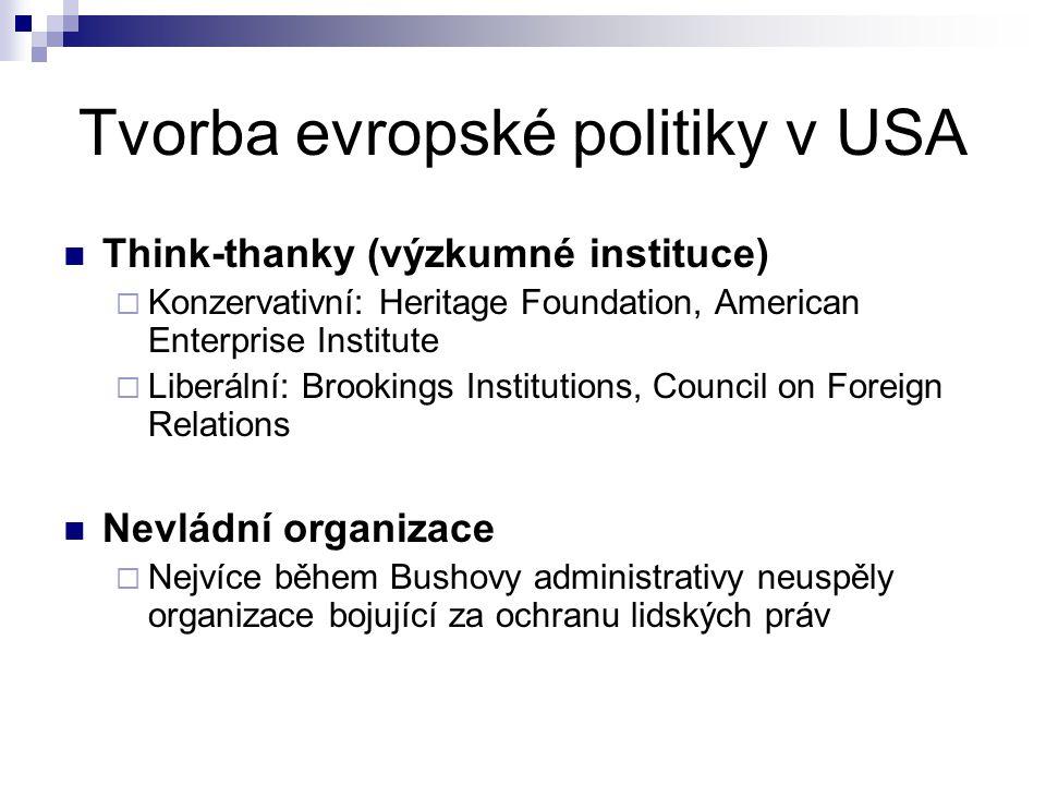 Tvorba evropské politiky v USA Think-thanky (výzkumné instituce)  Konzervativní: Heritage Foundation, American Enterprise Institute  Liberální: Broo