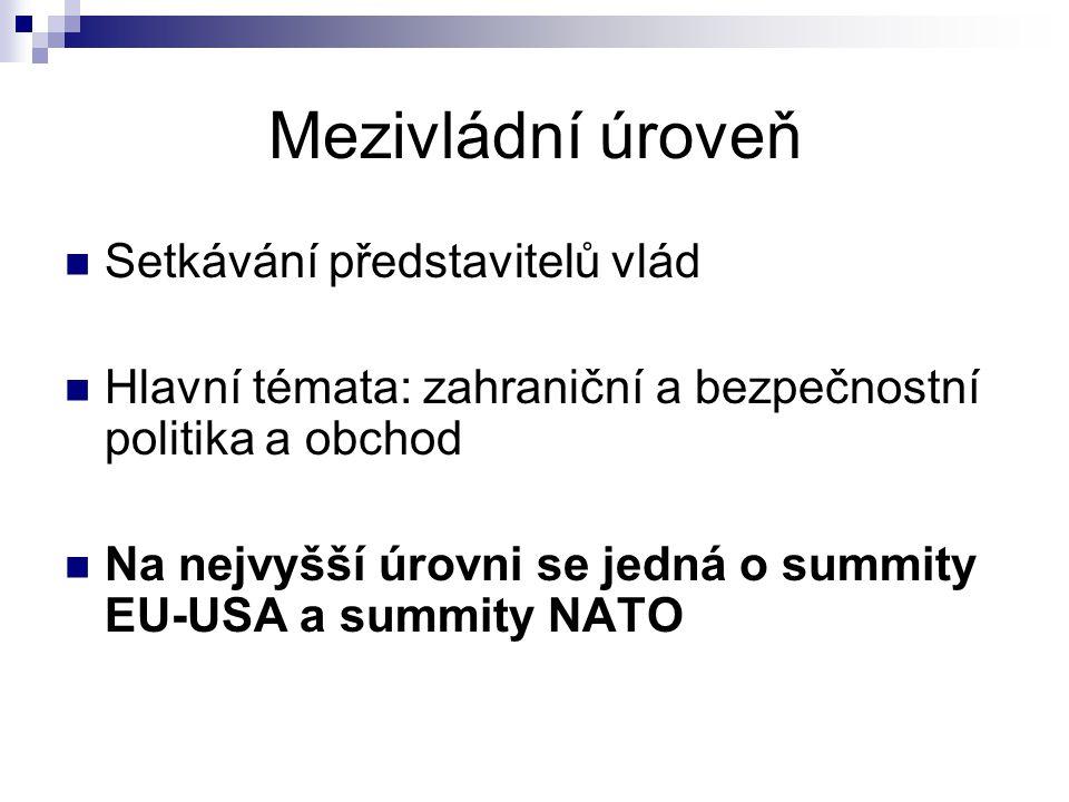 Mezivládní úroveň Setkávání představitelů vlád Hlavní témata: zahraniční a bezpečnostní politika a obchod Na nejvyšší úrovni se jedná o summity EU-USA a summity NATO