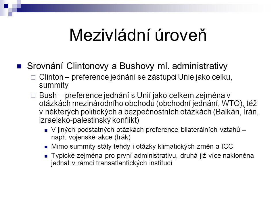 Mezivládní úroveň Srovnání Clintonovy a Bushovy ml. administrativy  Clinton – preference jednání se zástupci Unie jako celku, summity  Bush – prefer