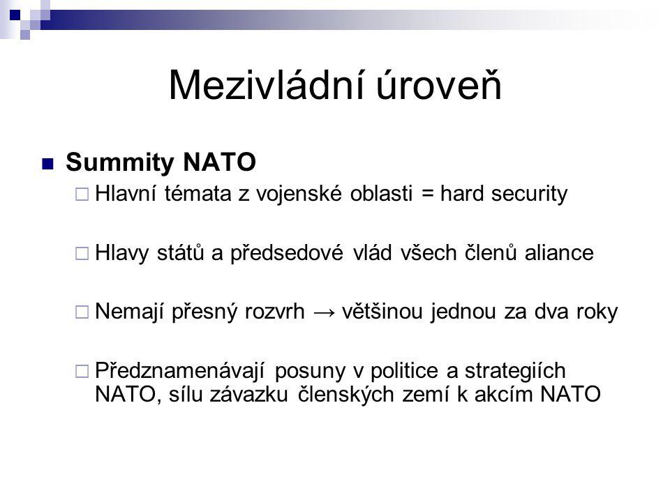 Mezivládní úroveň Summity NATO  Hlavní témata z vojenské oblasti = hard security  Hlavy států a předsedové vlád všech členů aliance  Nemají přesný