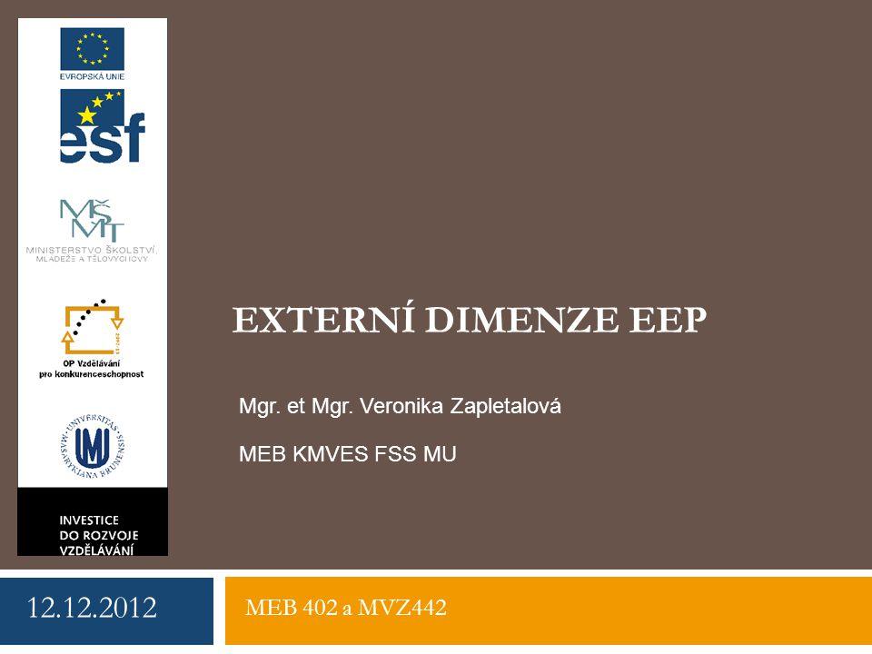 EXTERNÍ DIMENZE EEP 12.12.2012 Mgr. et Mgr. Veronika Zapletalová MEB 402 a MVZ442 MEB KMVES FSS MU