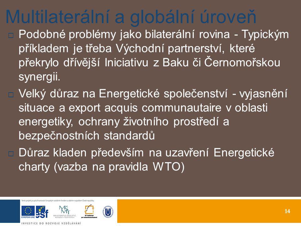 14 Multilaterální a globální úroveň  Podobné problémy jako bilaterální rovina - Typickým příkladem je třeba Východní partnerství, které překrylo dřívější Iniciativu z Baku či Černomořskou synergii.