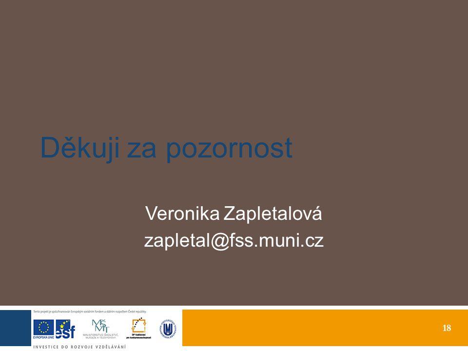 18 Děkuji za pozornost Veronika Zapletalová zapletal@fss.muni.cz