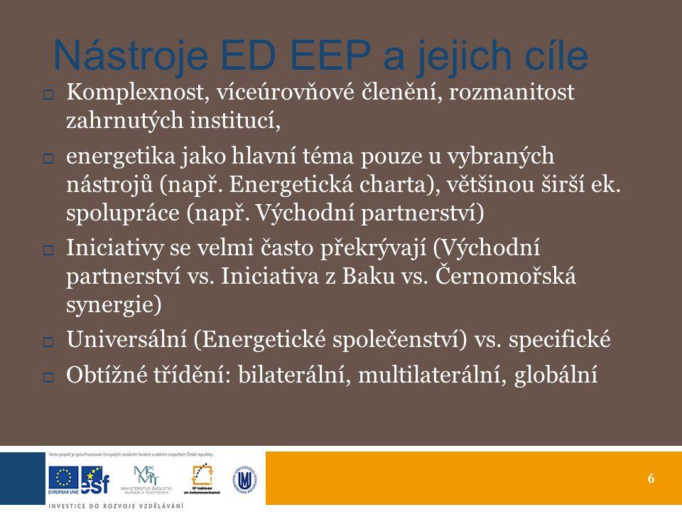 6 Nástroje ED EEP a jejich cíle  Komplexnost, víceúrovňové členění, rozmanitost zahrnutých institucí,  energetika jako hlavní téma pouze u vybraných nástrojů (např.