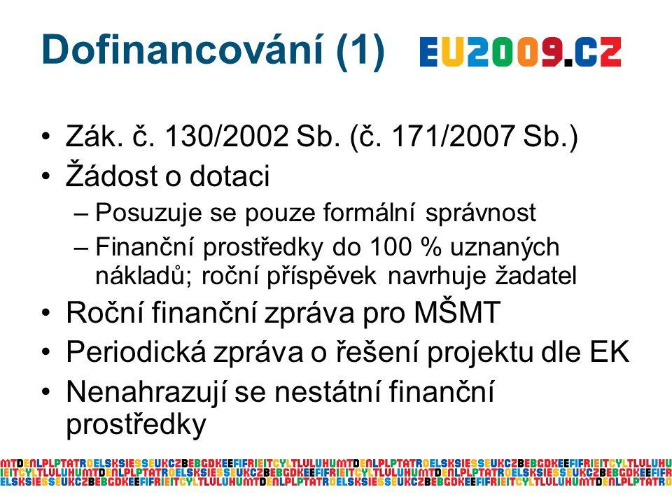 Zák. č. 130/2002 Sb. (č. 171/2007 Sb.) Žádost o dotaci –Posuzuje se pouze formální správnost –Finanční prostředky do 100 % uznaných nákladů; roční pří