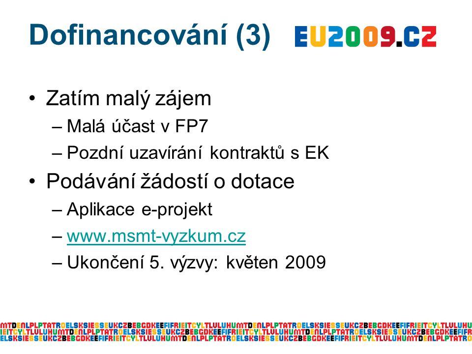 Dofinancování (3) Zatím malý zájem –Malá účast v FP7 –Pozdní uzavírání kontraktů s EK Podávání žádostí o dotace –Aplikace e-projekt –www.msmt-vyzkum.czwww.msmt-vyzkum.cz –Ukončení 5.