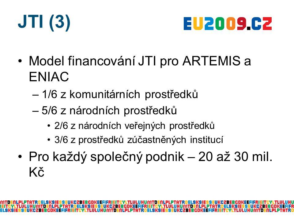 JTI (3) Model financování JTI pro ARTEMIS a ENIAC –1/6 z komunitárních prostředků –5/6 z národních prostředků 2/6 z národních veřejných prostředků 3/6 z prostředků zúčastněných institucí Pro každý společný podnik – 20 až 30 mil.