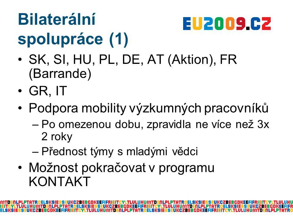 Bilaterální spolupráce (1) SK, SI, HU, PL, DE, AT (Aktion), FR (Barrande) GR, IT Podpora mobility výzkumných pracovníků –Po omezenou dobu, zpravidla n