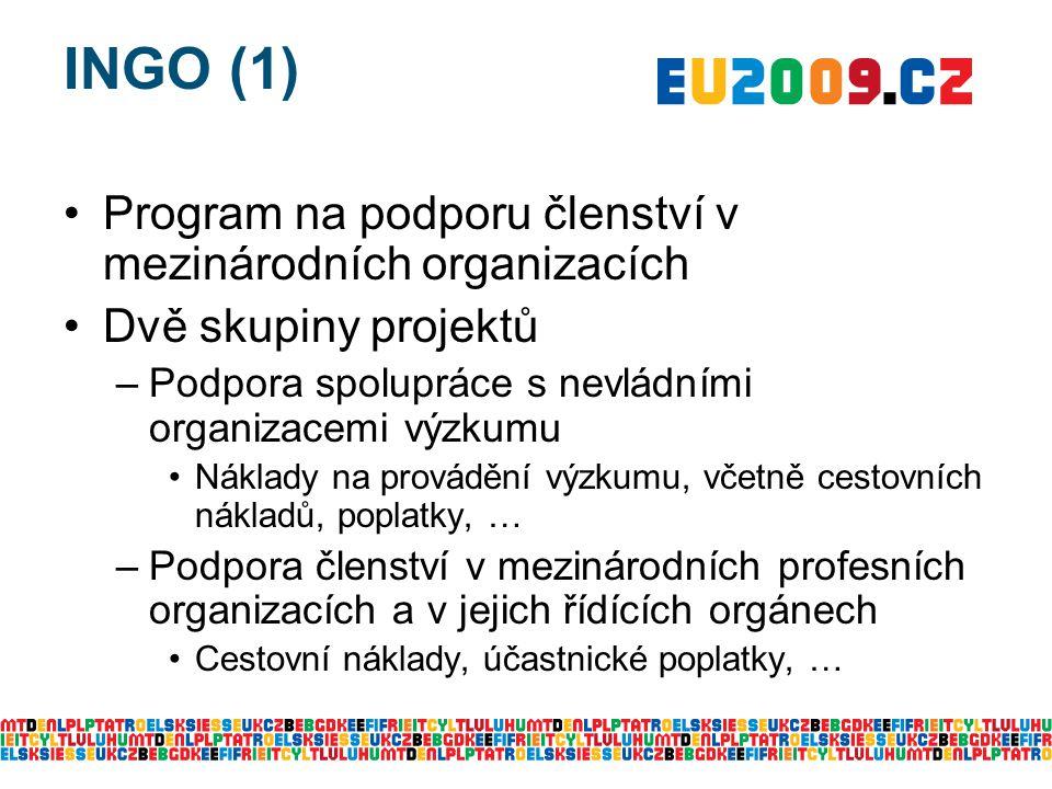 INGO (1) Program na podporu členství v mezinárodních organizacích Dvě skupiny projektů –Podpora spolupráce s nevládními organizacemi výzkumu Náklady na provádění výzkumu, včetně cestovních nákladů, poplatky, … –Podpora členství v mezinárodních profesních organizacích a v jejich řídících orgánech Cestovní náklady, účastnické poplatky, …
