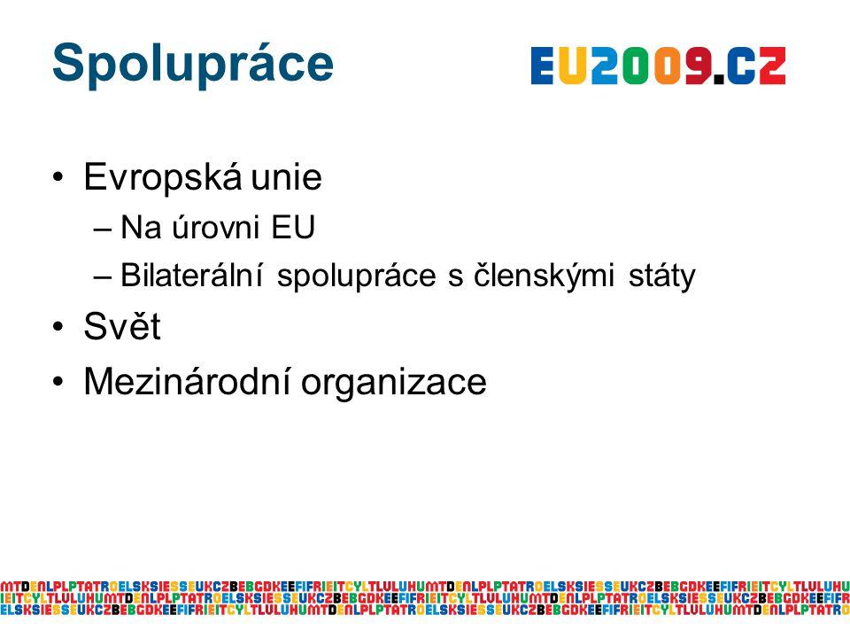 Spolupráce Evropská unie –Na úrovni EU –Bilaterální spolupráce s členskými státy Svět Mezinárodní organizace