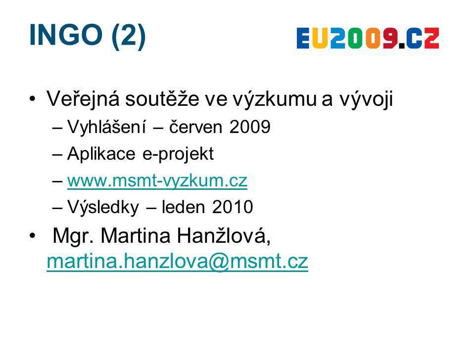 INGO (2) Veřejná soutěže ve výzkumu a vývoji –Vyhlášení – červen 2009 –Aplikace e-projekt –www.msmt-vyzkum.czwww.msmt-vyzkum.cz –Výsledky – leden 2010 Mgr.