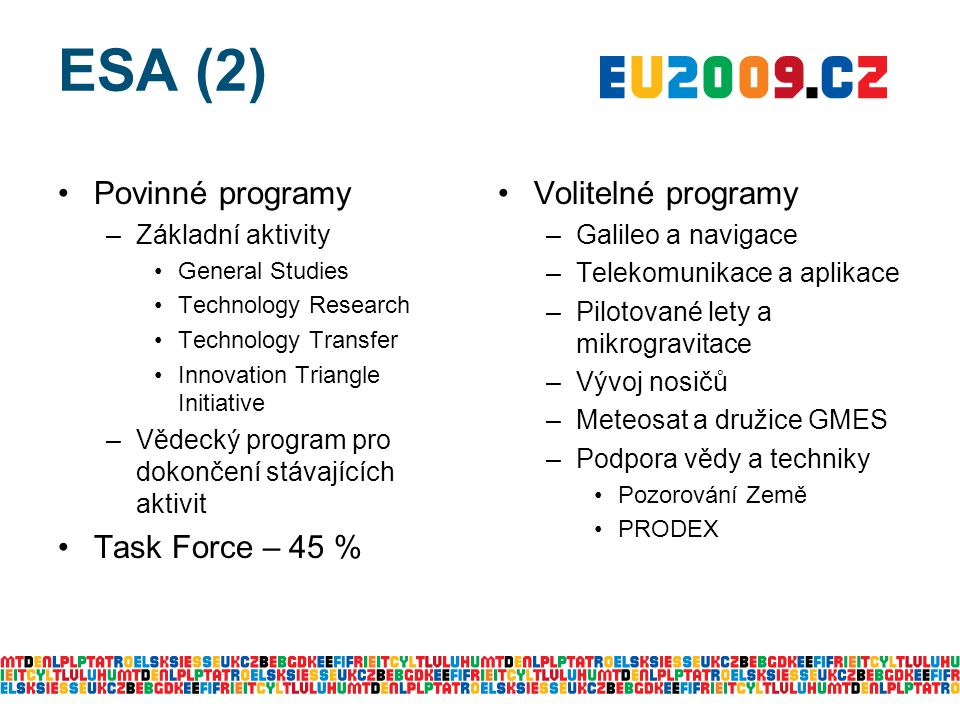 ESA (2) Povinné programy –Základní aktivity General Studies Technology Research Technology Transfer Innovation Triangle Initiative –Vědecký program pr