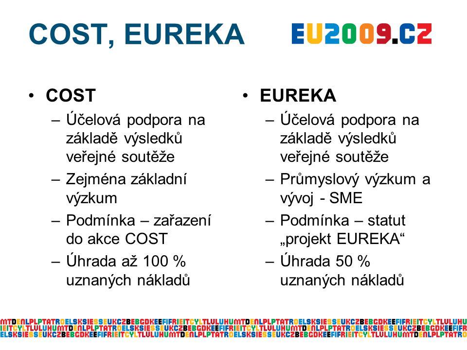 COST, EUREKA COST –Účelová podpora na základě výsledků veřejné soutěže –Zejména základní výzkum –Podmínka – zařazení do akce COST –Úhrada až 100 % uzn
