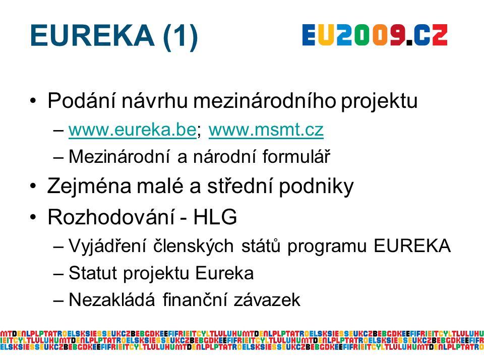 EUREKA (1) Podání návrhu mezinárodního projektu –www.eureka.be; www.msmt.czwww.eureka.bewww.msmt.cz –Mezinárodní a národní formulář Zejména malé a střední podniky Rozhodování - HLG –Vyjádření členských států programu EUREKA –Statut projektu Eureka –Nezakládá finanční závazek