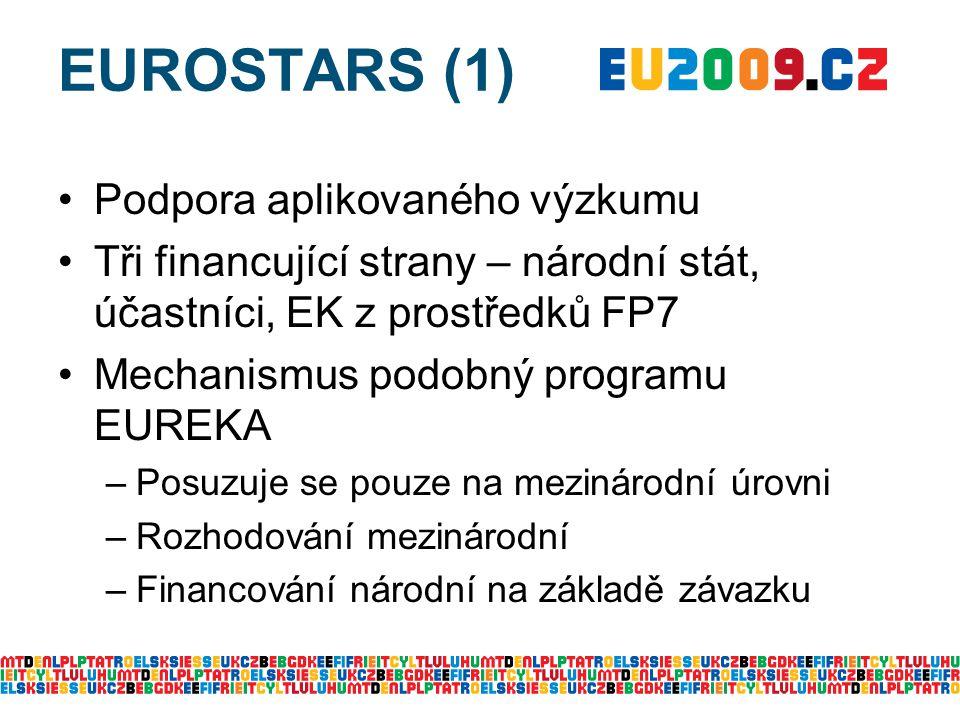 EUROSTARS (1) Podpora aplikovaného výzkumu Tři financující strany – národní stát, účastníci, EK z prostředků FP7 Mechanismus podobný programu EUREKA –