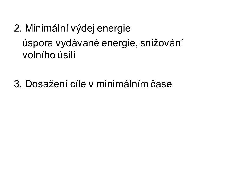 2. Minimální výdej energie úspora vydávané energie, snižování volního úsilí 3.