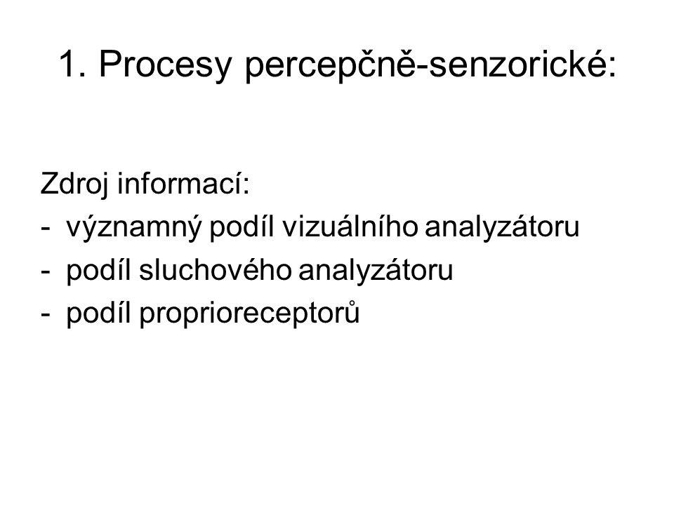 1. Procesy percepčně-senzorické: Zdroj informací: -významný podíl vizuálního analyzátoru -podíl sluchového analyzátoru -podíl proprioreceptorů