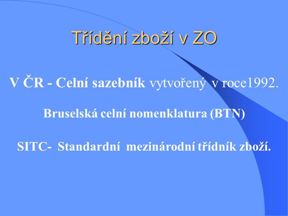 Třídění zboží v ZO Bruselská celní nomenklatura (BTN) V ČR - Celní sazebník vytvořený v roce1992. SITC- Standardní mezinárodní třídník zboží.