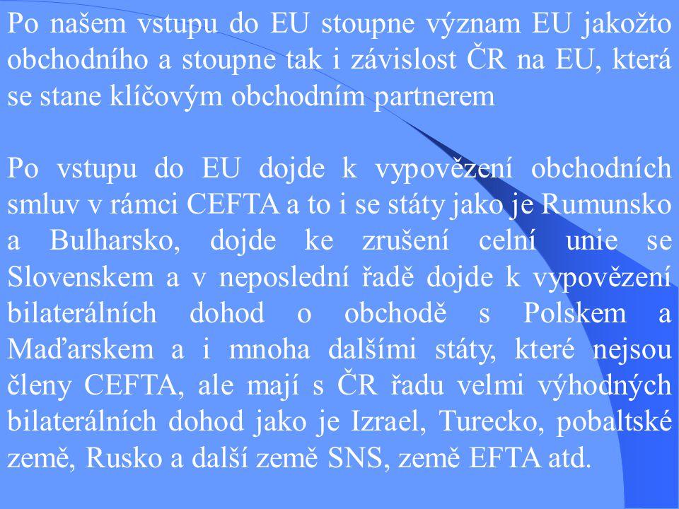 Po našem vstupu do EU stoupne význam EU jakožto obchodního a stoupne tak i závislost ČR na EU, která se stane klíčovým obchodním partnerem Po vstupu do EU dojde k vypovězení obchodních smluv v rámci CEFTA a to i se státy jako je Rumunsko a Bulharsko, dojde ke zrušení celní unie se Slovenskem a v neposlední řadě dojde k vypovězení bilaterálních dohod o obchodě s Polskem a Maďarskem a i mnoha dalšími státy, které nejsou členy CEFTA, ale mají s ČR řadu velmi výhodných bilaterálních dohod jako je Izrael, Turecko, pobaltské země, Rusko a další země SNS, země EFTA atd.